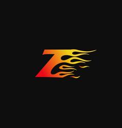letter z burning flame logo design template vector image