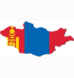 Map of Mongolia with national flag vector image