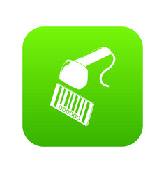 Market code scanner icon green vector
