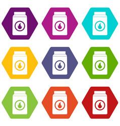 matchbox icon set color hexahedron vector image