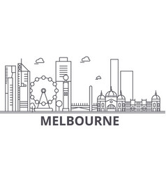 Melbourne architecture line skyline vector