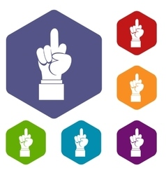Middle finger hand sign icons set vector