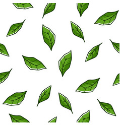 mint leaves tree foliage bushes seamless pattern vector image