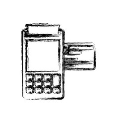 monochrome blurred silhouette of payment terminal vector image