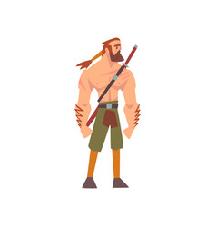 Muscular barbarian warrior with sword medieval vector