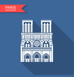 Notre dame de paris cathedral france icon vector