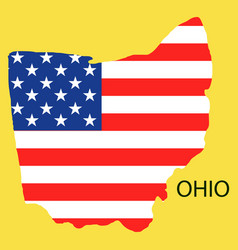 Ohio state of america with map flag print on map vector