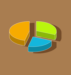 paper sticker on stylish background pie chart vector image