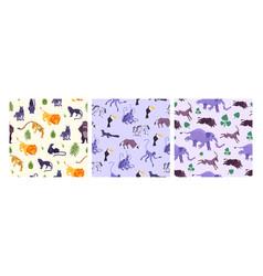 pattern animals flat set vector image