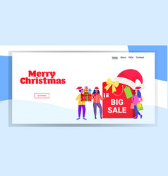 people in santa hats standing near big shopping vector image