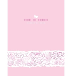 Pink line art flowers vertical card seamless vector image