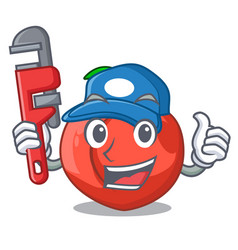 Plumber fruit of nectarine isolated on mascot vector