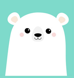 Polar white bear cub face merry christmas happy vector