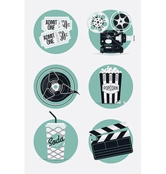 Retro movie icon set vector
