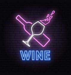 retro neon wine sign on brick wall background vector image