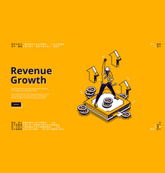 revenue growth isometric landing page high expense vector image