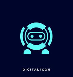 Robot digital icon modern art style template vector