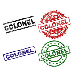 Scratched textured colonel seal stamps vector