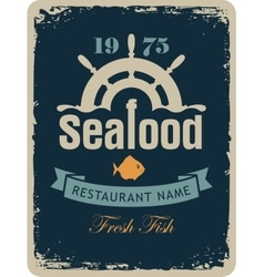 Seafood restaurant with a ship helm vector