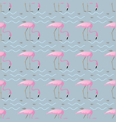 Seamless pattern with pink flamingos and fish on vector