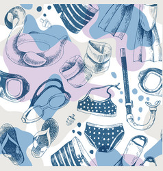 Seamless pattern with swimming accessories vector