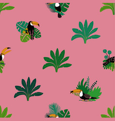 seamless pattern with toucan and plants vector image
