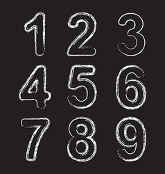 Set chalk hand drawing number vector