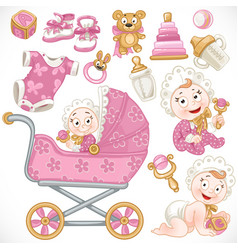 Set cute baby pink baby toys baby carriage vector