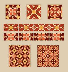 Set moroccan tiles and borders vector