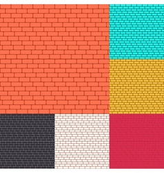Set of brick walls seamless background vector image