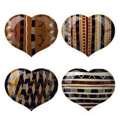 Set of glass hearts with African texture inside vector