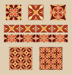 Set of moroccan tiles and borders vector