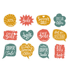 set of sale lettering in comic speech vector image