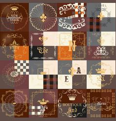 Set of vintage frames for luxury labels logos vector