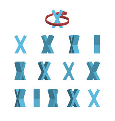 Sheet of sprites rotation of cartoon 3d letter x vector