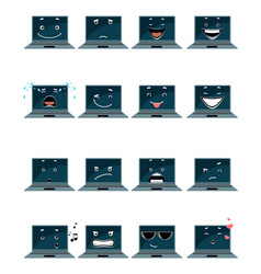 Sixteen laptop emojis vector