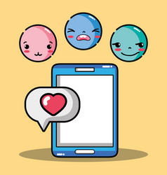 Smartphone with emoji emotion faces character vector