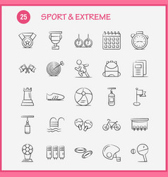 Sport and extreme hand drawn icons set vector