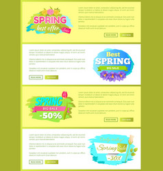 Super spring big sale advertisement labels flowers vector