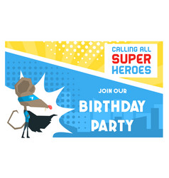 superhero birthday party banner template cute vector image
