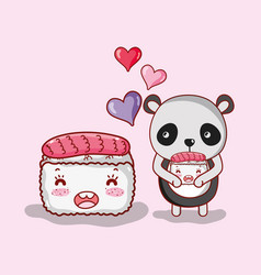 Sushi and panda kawaii vector