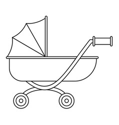 toy baby pram icon outline style vector image