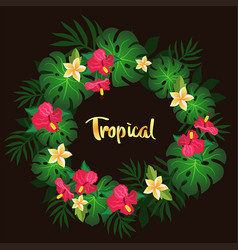 tropical circlet of flowers vector image