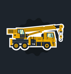 truck crane the object circled white outline on a vector image