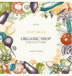 Vintage vegetables vector