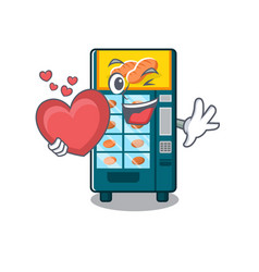 with heart bakery vending machine in a mascot vector image