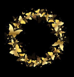 Wreath of gold butterflies vector