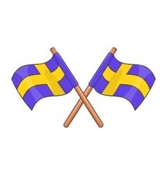 Crossed swedish flags icon cartoon style vector image