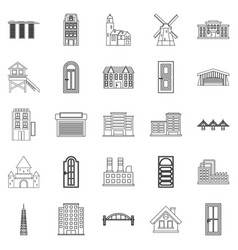 Development icons set outline style vector