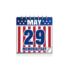memorial day calendar 2017 vector image